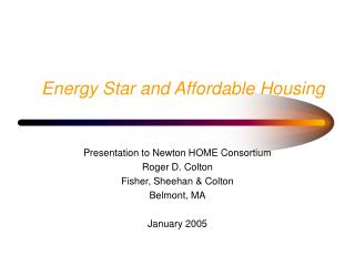 Energy Star and Affordable Housing