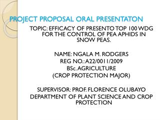 PROJECT PROPOSAL ORAL PRESENTATON