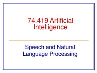 74.419 Artificial Intelligence