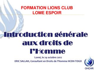 FORMATION LIONS CLUB  LOME ESPOIR