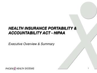 HEALTH INSURANCE PORTABILITY & ACCOUNTABILITY ACT - HIPAA