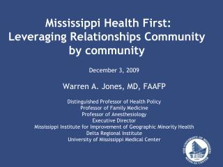 Mississippi Health First: Leveraging Relationships Community by community
