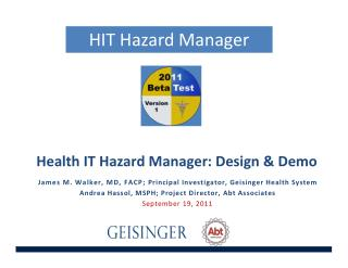 Health IT Hazard Manager: Design & Demo