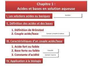 Chapitre 1 :  Acides et bases en solution aqueuse
