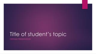 Title of student's topic