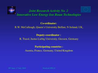 Joint Research Activity No. 2  Innovative Low Energy Ion Beam Technologies