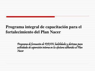 Programa integral de capacitación para el fortalecimiento del Plan Nacer
