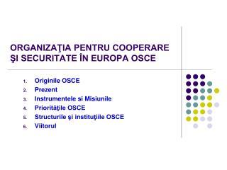 ORGANIZAŢIA PENTRU COOPERARE ŞI SECURITATE ÎN EUROPA OSCE