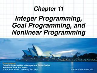 Integer Programming, Goal Programming, and Nonlinear Programming