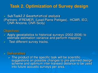 Task 2. Optimization of Survey design