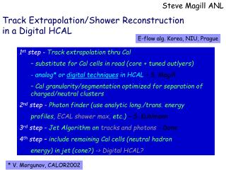 Track Extrapolation/Shower Reconstruction in a Digital HCAL