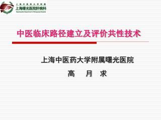 中医临床路径建立及评价共性技术