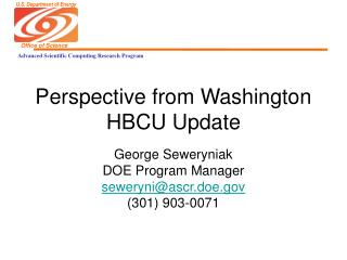 Perspective from Washington HBCU Update
