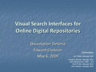Visual Search Interfaces for Online Digital Repositories