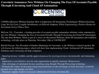 Corcentric Announces New Webinar On Changing The Face Of Acc