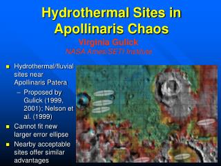 Hydrothermal Sites in Apollinaris Chaos