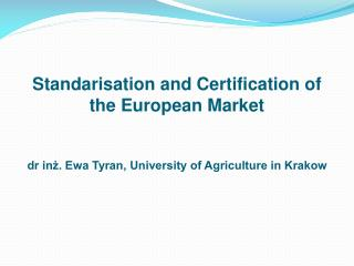 Agro-food products and foodstuffs certification