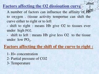 Factors affecting the O2 dissioation curve
