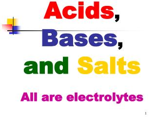 Acids ,  Bases , and Salts All are electrolytes
