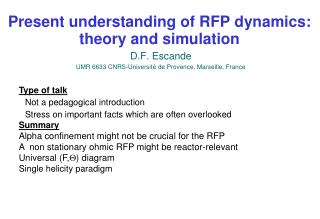 Present understanding of RFP dynamics: theory and simulation