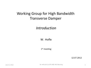 Working Group for High Bandwidth  Transverse Damper  Introduction Hofle 1 st  meeting