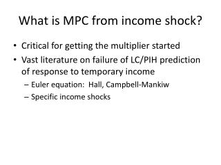 What is MPC from income shock?