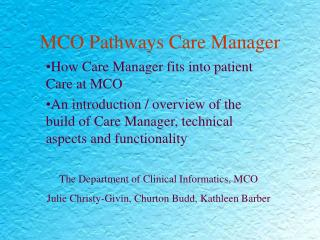 MCO Pathways Care Manager