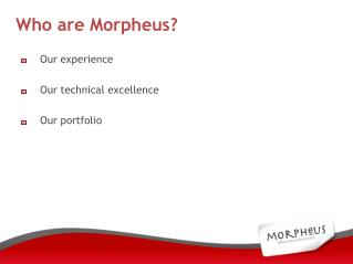 Our experience Our technical excellence Our portfolio