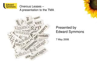 Onerous Leases –  A presentation to the TMA