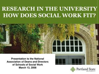 RESEARCH IN THE UNIVERSITY HOW DOES SOCIAL WORK FIT?