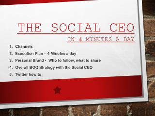 The Social  CEO in 4 Minutes a day