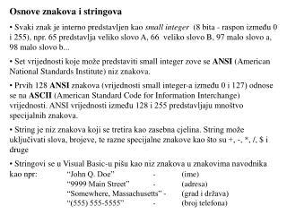 Osnove znakova i stringova