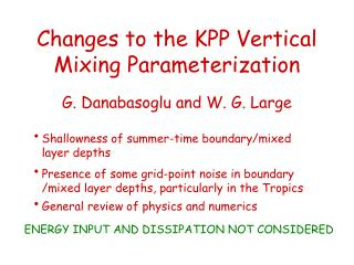 Changes to the KPP Vertical Mixing Parameterization