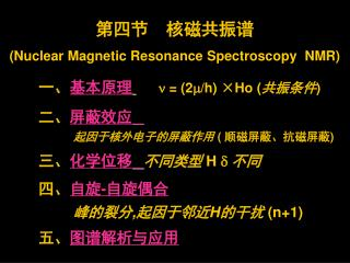 第四节  核磁共振谱 (Nuclear Magnetic Resonance Spectroscopy  NMR) 一、 基本原 理 n  = (2 m /h) ×Ho ( 共振条件 )