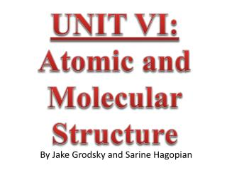 UNIT VI:  Atomic and Molecular Structure