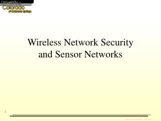 Wireless Network Security and Sensor Networks