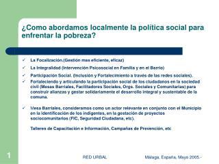 ¿Como abordamos localmente la política social para enfrentar la pobreza?