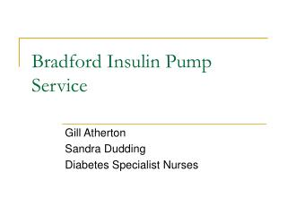 Bradford Insulin Pump Service