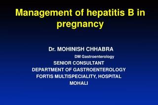 Management of hepatitis B in pregnancy