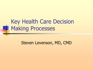 Key Health Care Decision Making Processes