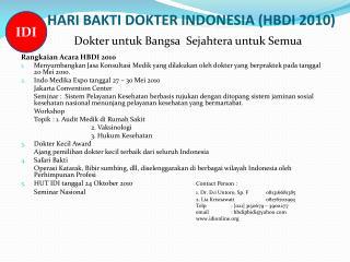 HARI BAKTI DOKTER INDONESIA (HBDI 2010)