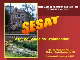 Heloisa Marceliano Nunes    Médica – Seção Hepatologia IEC Ananindeua, 31 de outubro de 2008