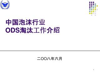 中国泡沫行业 ODS 淘汰 工作 介绍