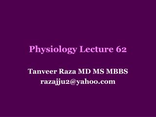 Physiology Lecture 62