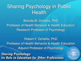 Sharing Psychology in Public Health