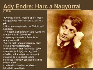 Ady Endre: Harc a Nagyúrral (1905)