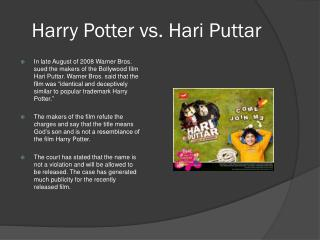 Harry Potter vs. Hari Puttar
