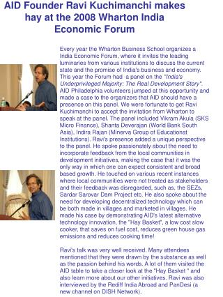 AID Founder Ravi Kuchimanchi makes hay at the 2008 Wharton India Economic Forum