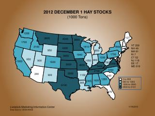 2012 DECEMBER 1 HAY STOCKS (1000 Tons)
