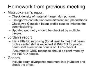 Homework from previous meeting